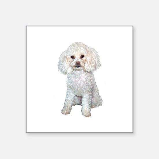 "Poodle - Min (W) Square Sticker 3"" x 3"""