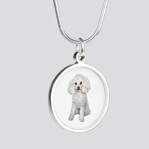 Poodle - Min (W) Silver Round Necklace
