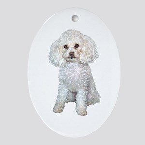 Poodle - Min (W) Ornament (Oval)