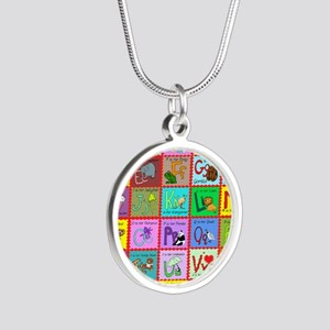 alphabet soup creations Silver Round Necklace