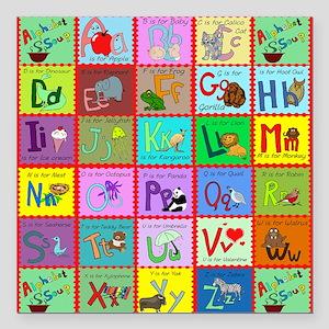 """alphabet soup creations Square Car Magnet 3"""" x 3"""""""