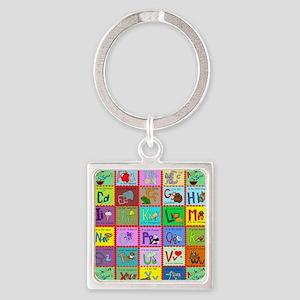 alphabet soup creations Square Keychain