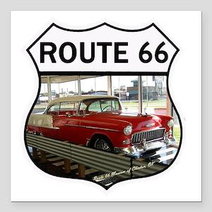 "Route 66 Museum - Clinto Square Car Magnet 3"" x 3"""