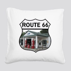 Route 66 - Amblers Texaco Gas Square Canvas Pillow