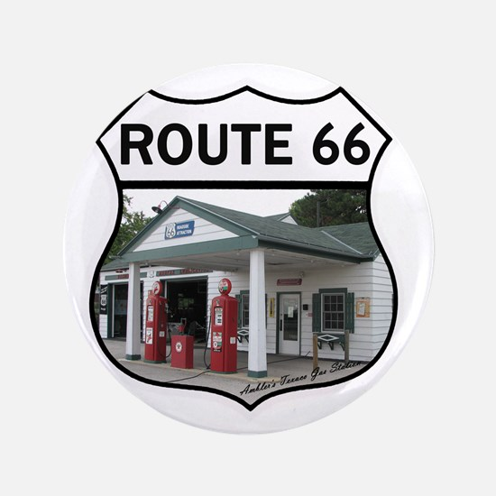 """Route 66 - Amblers Texaco Gas Station  3.5"""" Button"""