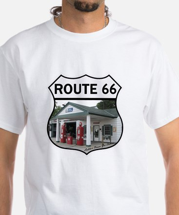 Route 66 - Amblers Texaco Gas Sta White T-Shirt