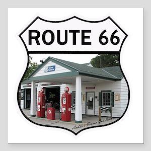 "Route 66 - Amblers Texac Square Car Magnet 3"" x 3"""
