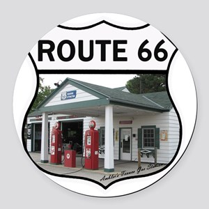 Route 66 - Amblers Texaco Gas Sta Round Car Magnet