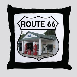 Route 66 - Amblers Texaco Gas Station Throw Pillow