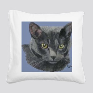 American Shorthair Gray Cat Square Canvas Pillow