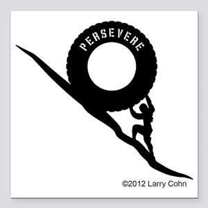 "Persevere Crossfit T-Shi Square Car Magnet 3"" x 3"""