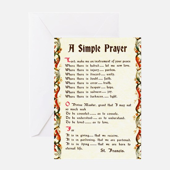 A Simple Prayer by Saint Francis of  Greeting Card