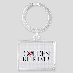 golden retriever dog tag Landscape Keychain