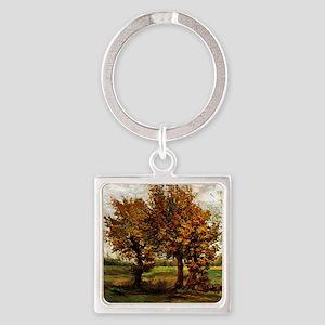 Van Gogh Autumn Landscape with Fou Square Keychain