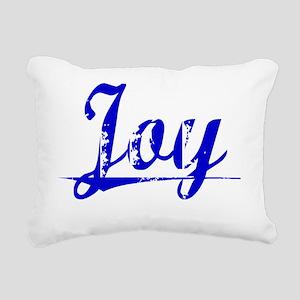 Joy, Blue, Aged Rectangular Canvas Pillow