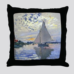 Claude Monet Sailboat Throw Pillow