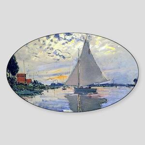 Claude Monet Sailboat Sticker (Oval)