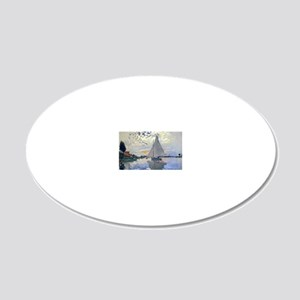 Claude Monet Sailboat 20x12 Oval Wall Decal
