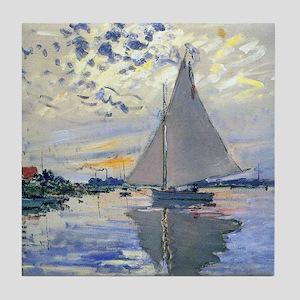 Claude Monet Sailboat Tile Coaster