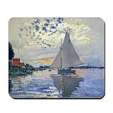 Claude monet sailboat Classic Mousepad