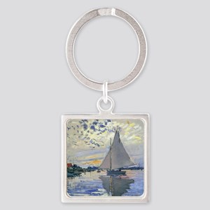 Claude Monet Sailboat Square Keychain