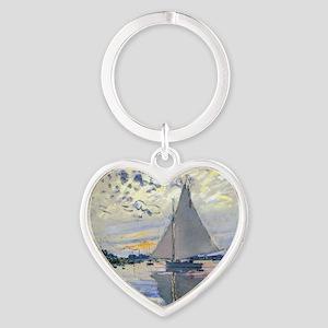 Claude Monet Sailboat Heart Keychain