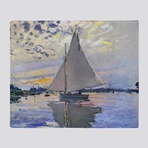 Claude Monet Sailboat Throw Blanket