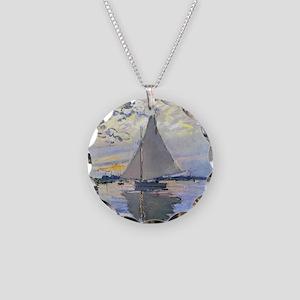 Claude Monet Sailboat Necklace Circle Charm