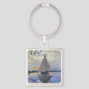 Claude Monet Sailboat Square Keychain