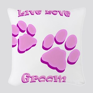 Live Love Groom Woven Throw Pillow