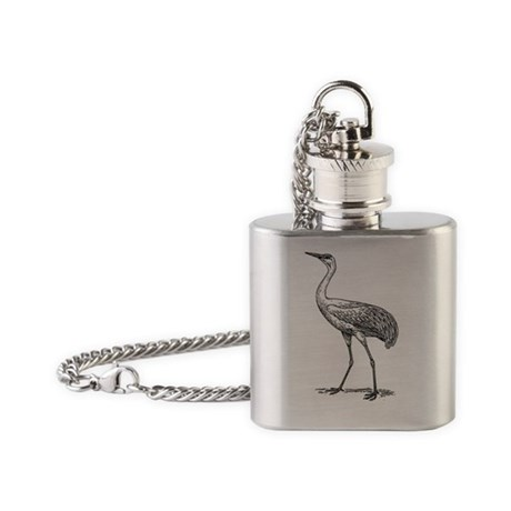 Crane Bird T-Shirt Flask Necklace