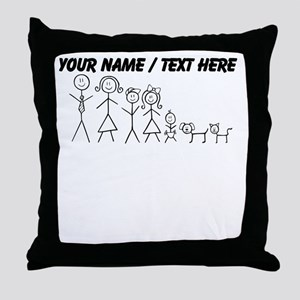 Custom Stick Figure Family Throw Pillow