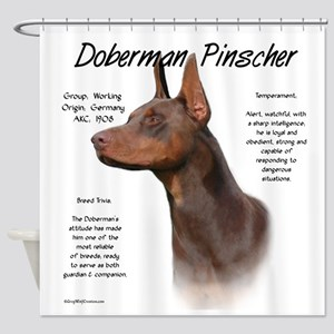 Doberman (red) Shower Curtain