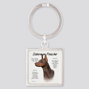 Doberman (red) Square Keychain