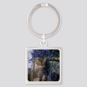 Flower Cat Square Keychain