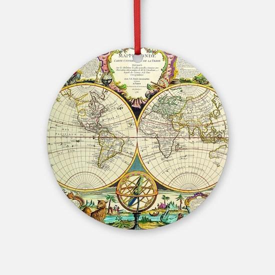 Vintage World Map Round Ornament