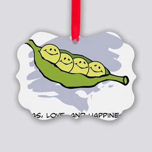 Peas, Love and Happiness Picture Ornament