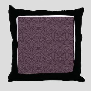 Purple Damask Print Throw Pillow