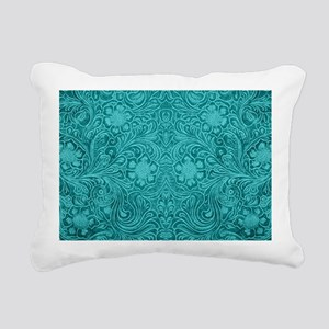 Leather Floral Turquoise Rectangular Canvas Pillow