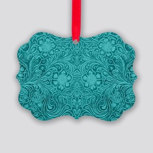 Leather Floral Turquoise Picture Ornament
