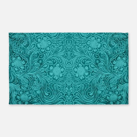 Leather Floral Turquoise 3'x5' Area Rug