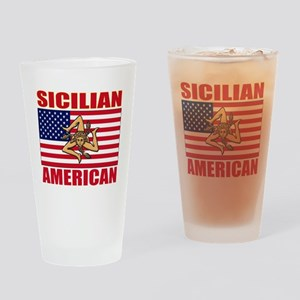 sicilian american a(blk) Drinking Glass