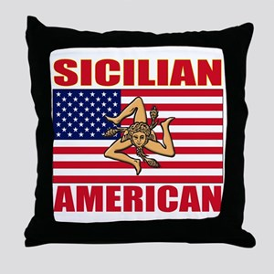 sicilian american a(blk) Throw Pillow
