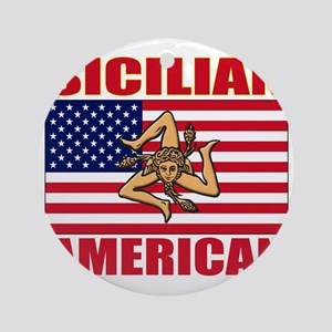sicilian american a(blk) Round Ornament