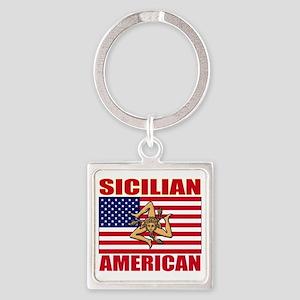 sicilian american a(blk) Square Keychain