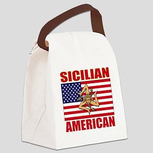 sicilian american a(blk) Canvas Lunch Bag