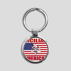 Sicilian American Round Keychain