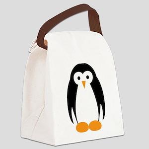 Cute Penguin Illustration Canvas Lunch Bag