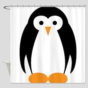 Cute Penguin Illustration Shower Curtain