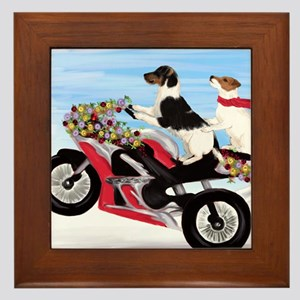 Jack Russell Terriers on a Motorcycle Framed Tile